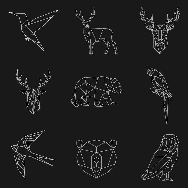 Set van dierlijke lineaire illustraties Gratis Vector