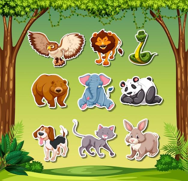 Set van dierlijke sticker Gratis Vector