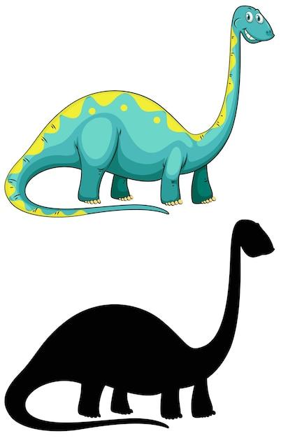 Set van dinosaurus stripfiguur en zijn silhouet op witte achtergrond Gratis Vector