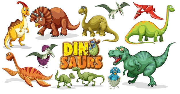 Set van dinosaurussen stripfiguur geïsoleerd op een witte achtergrond Gratis Vector