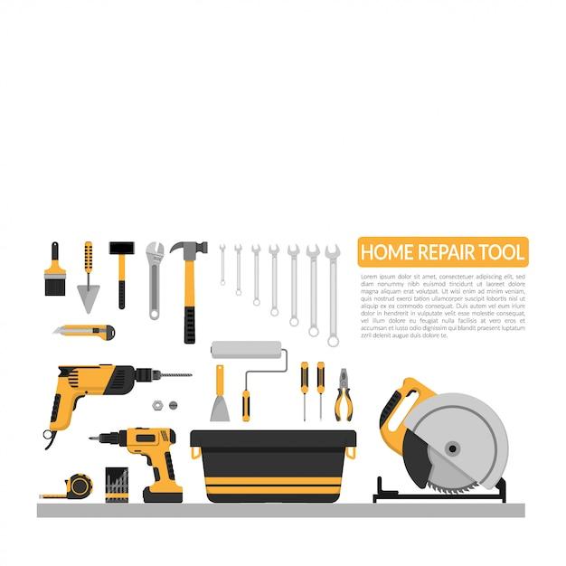 Set van diy thuis reparatie werkinstrumenten vector logo Premium Vector