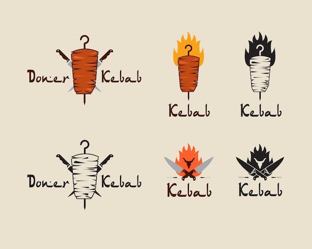 Set van doner kebab logo sjablonen Premium Vector