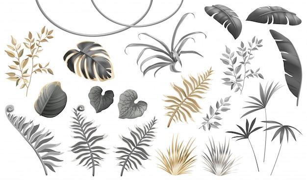 Set van donkere, gouden en zilveren bladeren en planten. Premium Vector