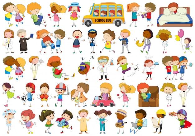 Set van doodle karakter Gratis Vector