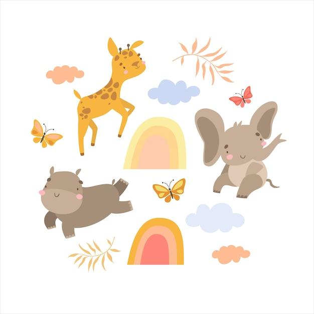 Set van doodles dieren safari en regenboog Gratis Vector