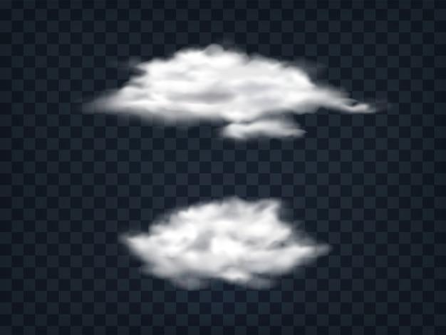Set van doorschijnende witte wolken. Gratis Vector