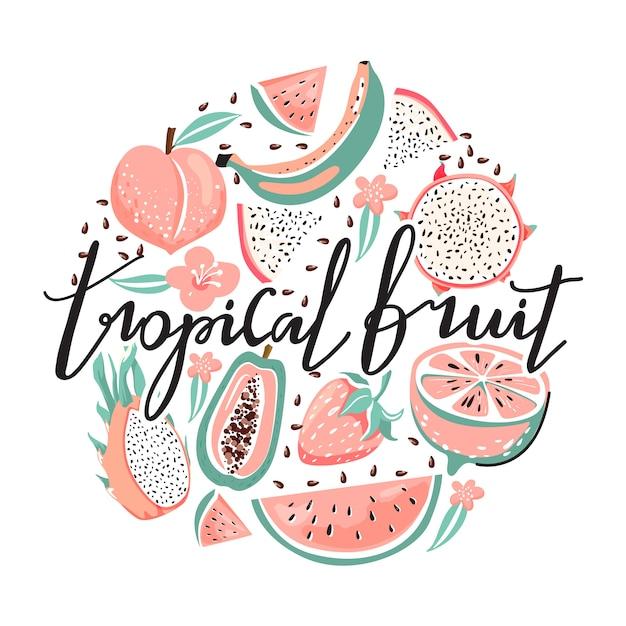 Set van dragon fruit, papaja, watermeloen, banaan, aardbei, perzik, bloem, zaden. Premium Vector