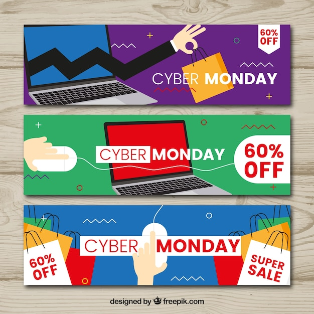 Set van drie cyber maandag banners Gratis Vector