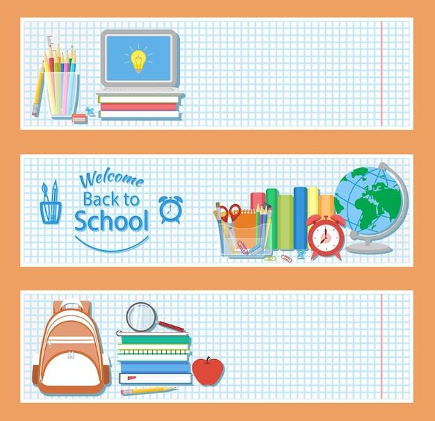 Set van drie horizontale banners met schoolspullen Premium Vector
