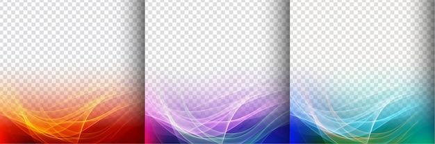 Set van drie kleurrijke transparante golf achtergrond Gratis Vector