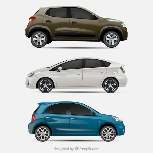 Set van drie realistische auto's Gratis Vector