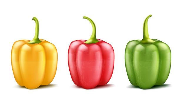 Set van drie realistische paprika's of bulgaars, rood, groen en geel Gratis Vector