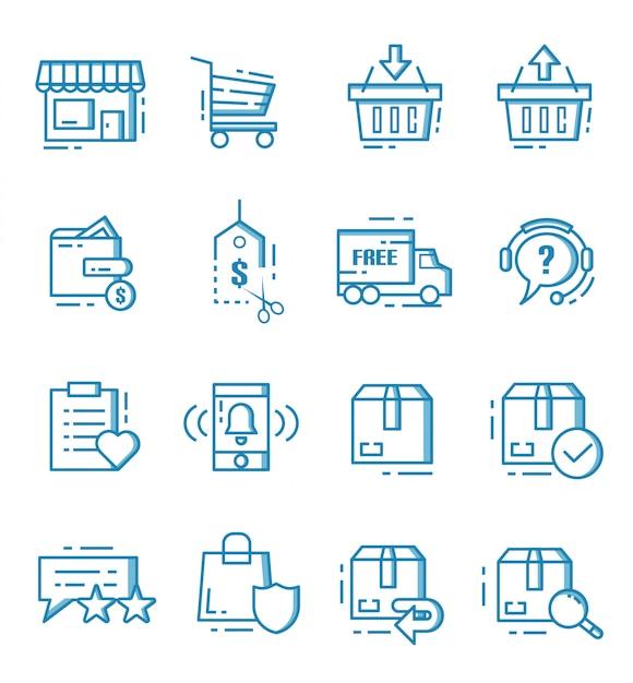 Set van e-commerce en online winkelen pictogrammen met kaderstijl Premium Vector