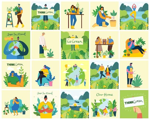 Set van eco-omgeving afbeeldingen opslaan. mensen die zorgen voor de planeet collage. geen afval, denk groen, red de planeet, onze handgeschreven tekst in een modern, plat ontwerp Premium Vector