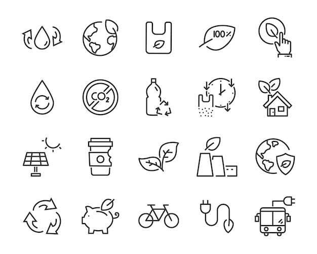 Set van eco plastic pictogrammen, zoals hergebruik, recyclen, natuur, groene energie Premium Vector