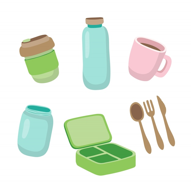 Set van ecologische items - herbruikbare koffiekop, glazen pot, houten bestek, lunchbox. Premium Vector