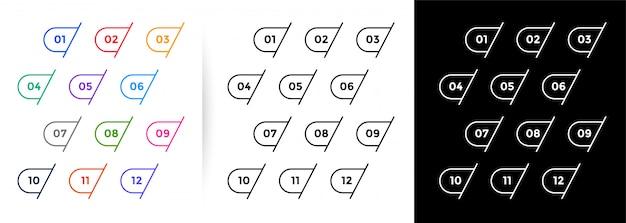 Set van één tot twaalf opsommingstekens in lijnstijl Gratis Vector