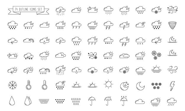Set van eenvoudige overzichtspictogrammen - het weer of de voorspelling zingt met wolken, sneeuw, regen, mist Premium Vector