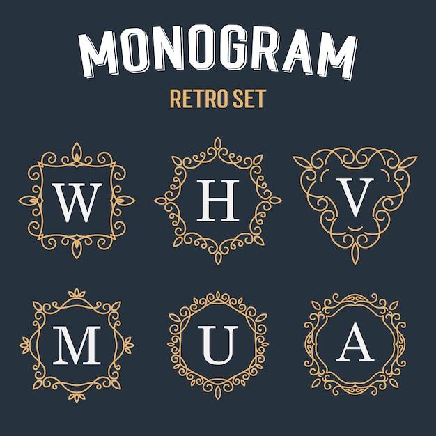 Set van elegant monogramontwerp. Premium Vector