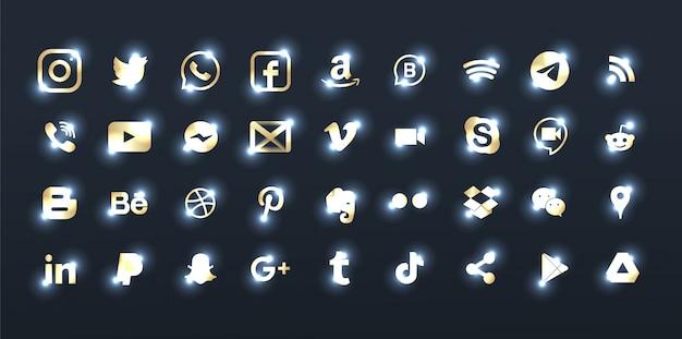 Set van elegante bronzen social media-logo's. Premium Vector