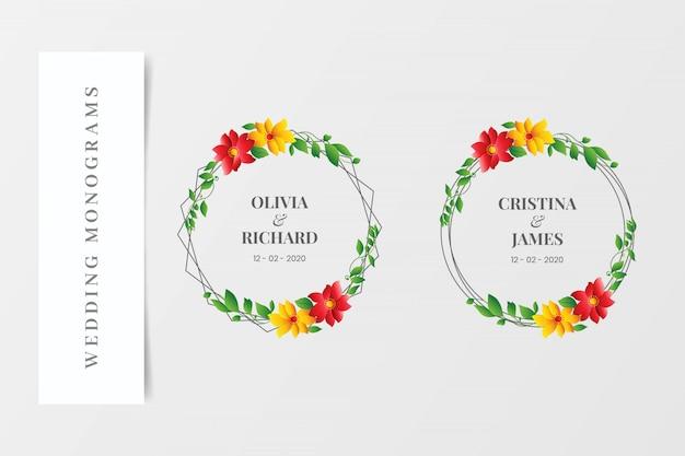 Set van elegante bruiloft monogrammen kransen Premium Vector