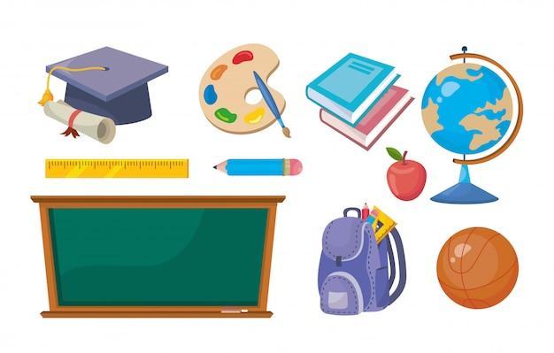 Set van elementaire educatief onderwijs om te leren Gratis Vector