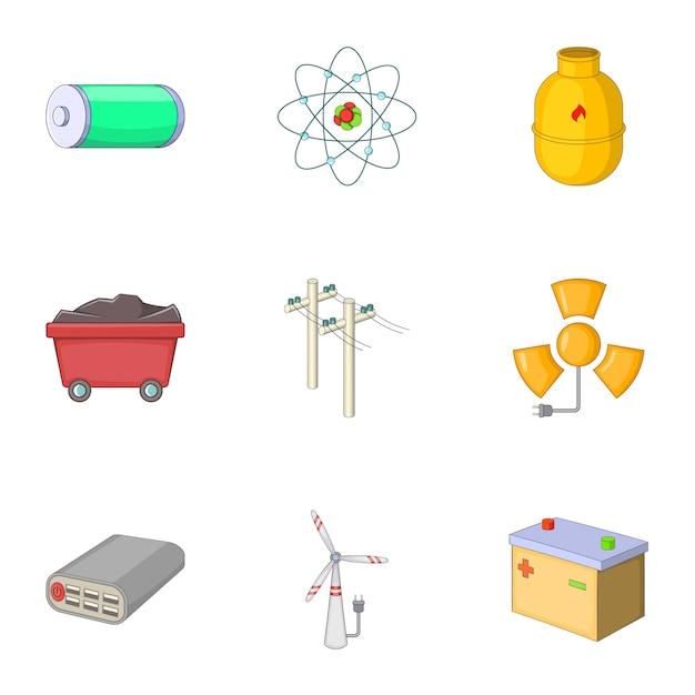 Set van energiebronnen, cartoon-stijl Premium Vector