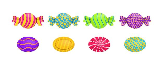 Set van enkele cartoon snoepjes: lolly, suikerriet, bonbon, teddybeermarmelade, zoethout. caramel snoep poster voor zoetwaren of snoepwinkel. geassorteerde verpakte snoepjes. illustratie. Premium Vector