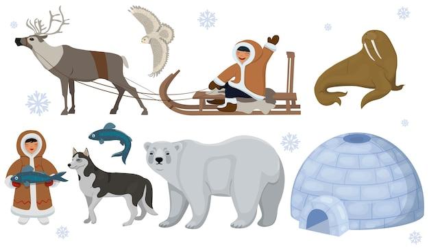 Set van etnische eskimo's met pooldieren. pooluil, beer, walrus, hert. geïsoleerd op witte achtergrond. Premium Vector