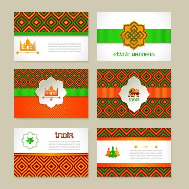 Set van etnische indiase banners in nationale kleuren lay-out ontwerp Gratis Vector