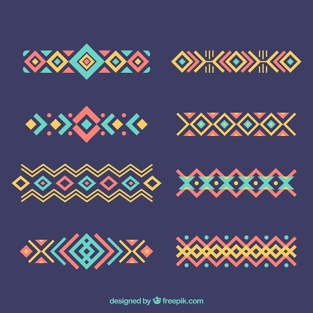 Set van etnische ornamenten in plat design Gratis Vector