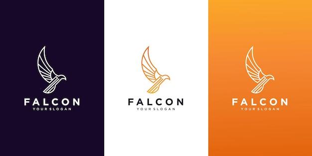 Set van falcon logo ontwerpsjabloon Premium Vector