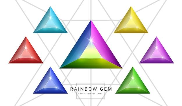 Set van fantasiejuwelen edelstenen in regenboogkleuren, driehoekige steen voor spel. Premium Vector