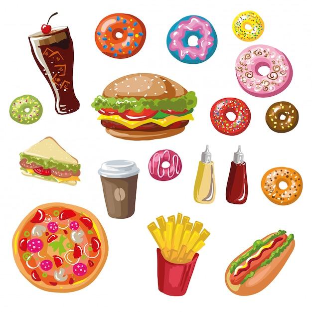 Set van fast-food maaltijden. Premium Vector