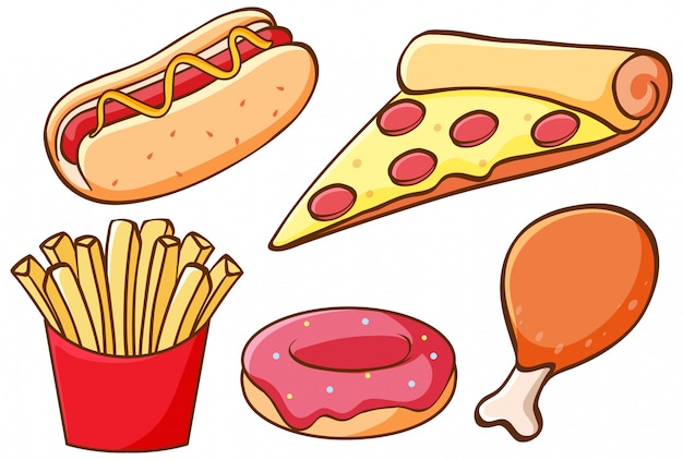 Set van fast food Gratis Vector