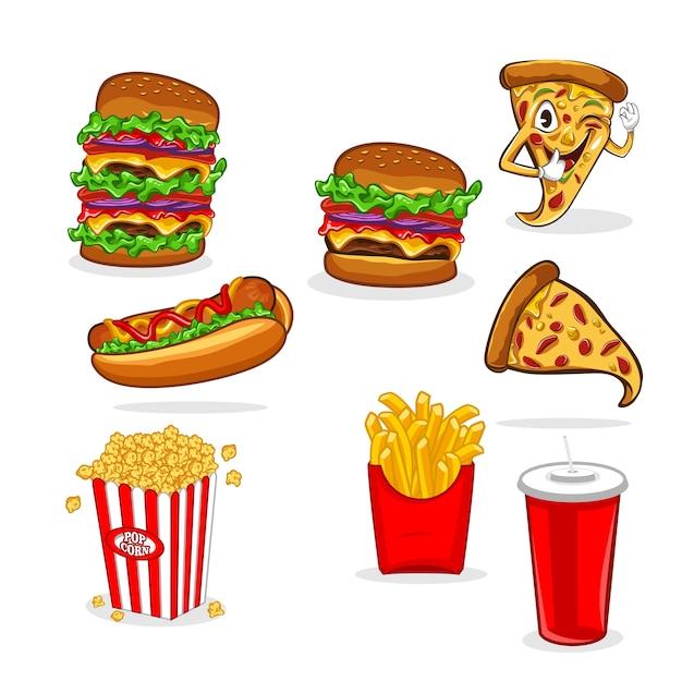 Set van fastfood vector illustratie Premium Vector