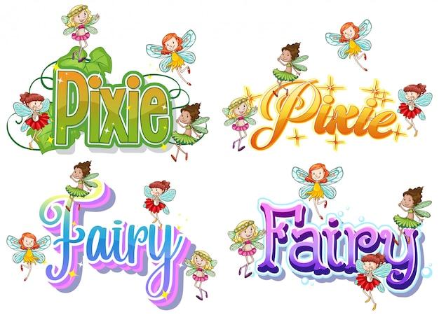Set van fee en pixie-logo met kleine feeën Gratis Vector