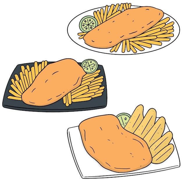 Set van fish and chips Premium Vector