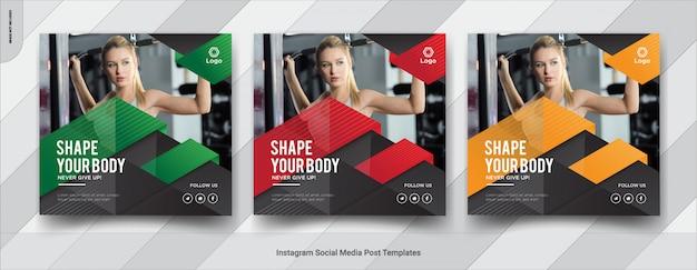 Set van fitness, sportschool instagram social media postontwerp Premium Vector