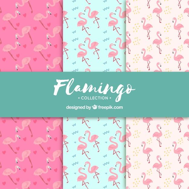 Set van flamingo's patronen in hand getrokken stijl Gratis Vector