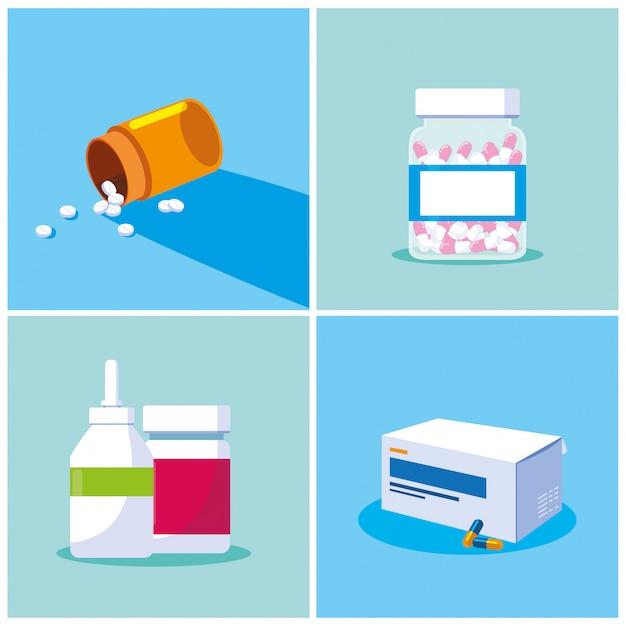 Set van flessen medicijnen probiotica Premium Vector