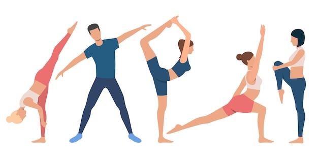 Set van flexibele mensen in verschillende posities Gratis Vector