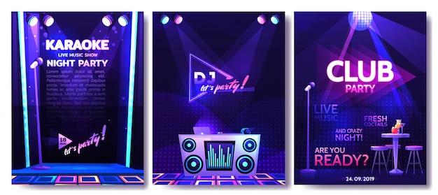 Set van flyer ontwerpsjabloon voor een feestje in een nachtclub Premium Vector