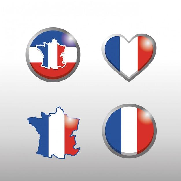 Set van frankrijk kaart en vlag embleem decoratie Gratis Vector