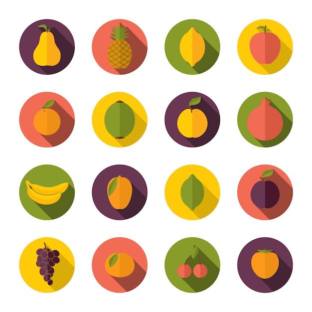 Set van fruit pictogrammen Premium Vector