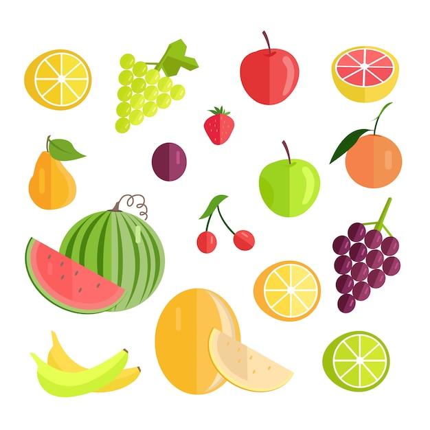 Set van fruit platte ontwerp vectorillustratie. Premium Vector