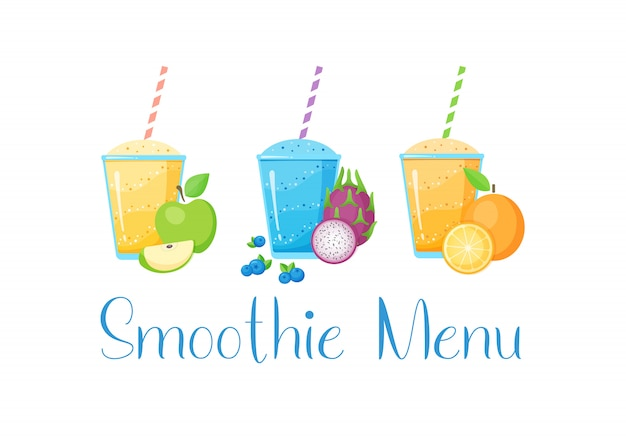 Set van fruit smoothie cocktail illustratie Premium Vector