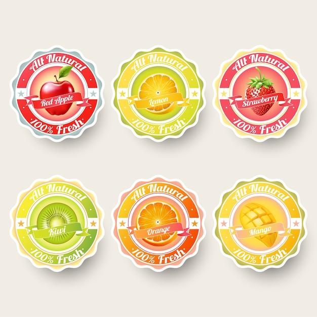 Set van fruit voor etiketten sticker Premium Vector