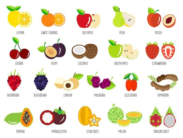 Set van fruit Premium Vector