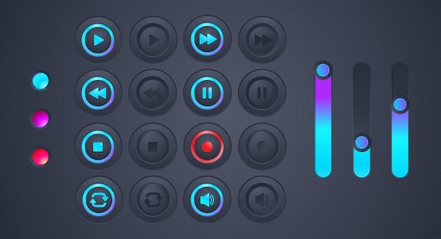 Set van futuristische audioplayback-pictogram Premium Vector